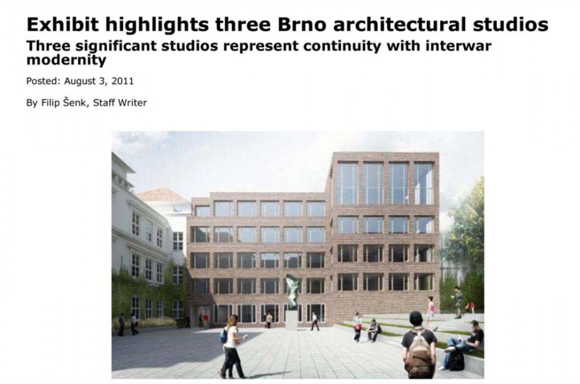 Exhibit highlights three Brno architectural studios