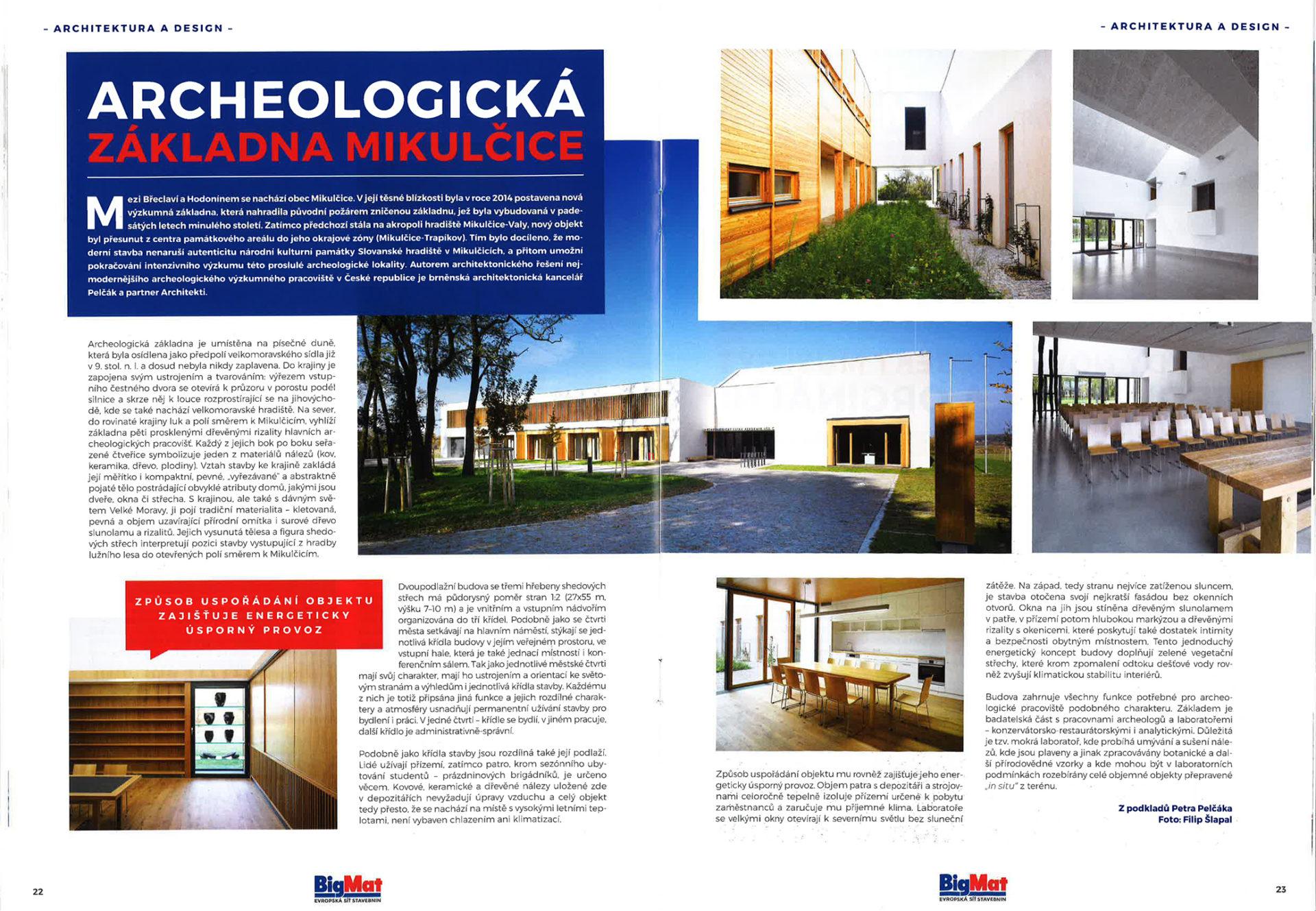 Článek včasopise BigNews oarcheologické základně Mikulčice