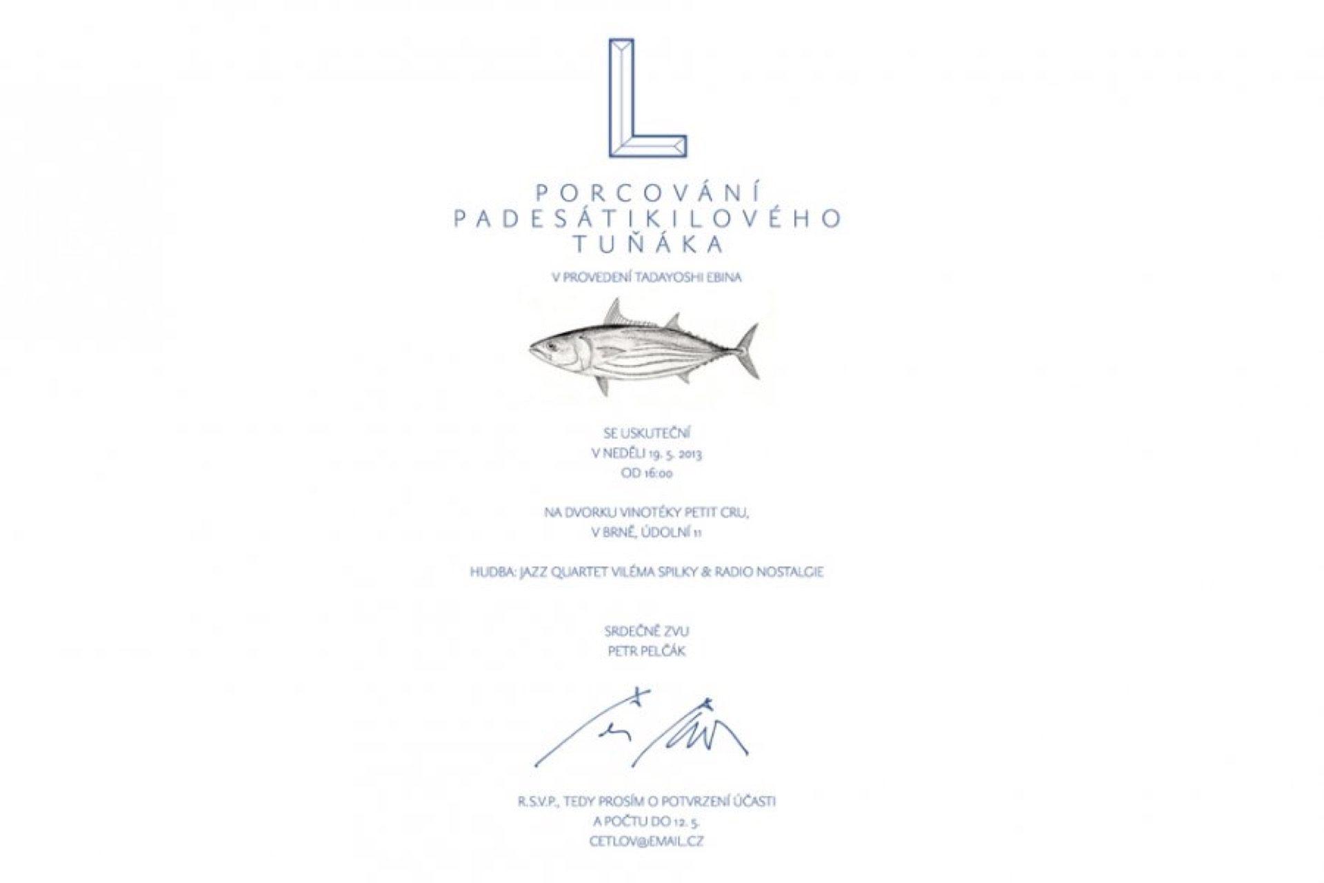 Porcování padesátikilového tuňáka vprovedení Tadayoshi Ebina