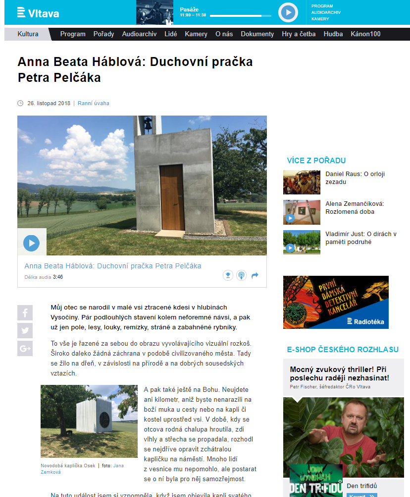 Kaplička na ČRo Vltava