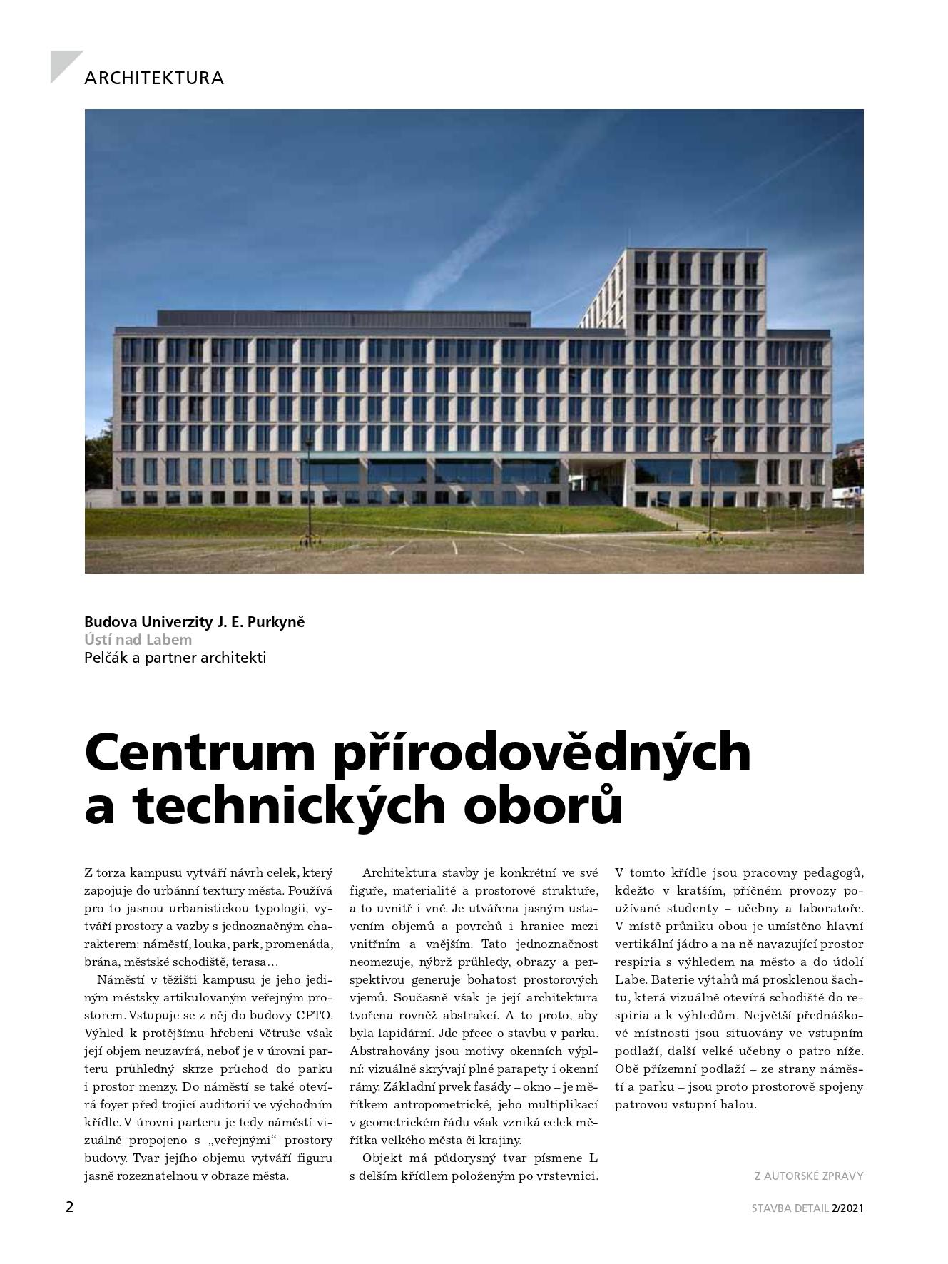 Budova univerzity J.E. Purkyně včasopise STAVBA ana EARCH.CZ