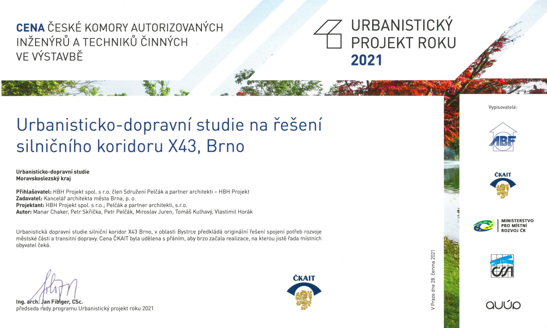 Silniční koridor X43 obdržel cenu – Urbanistický projekt roku 2021